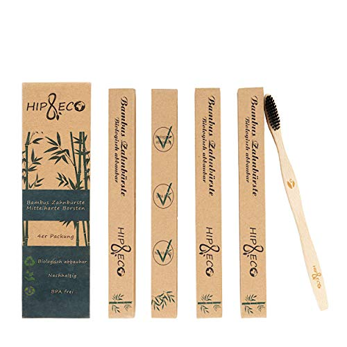 Bambus Zahnbürsten | 4er Pack | Nachhaltig | Biologisch abbaubar | BPA frei | Funktionelle Borsten