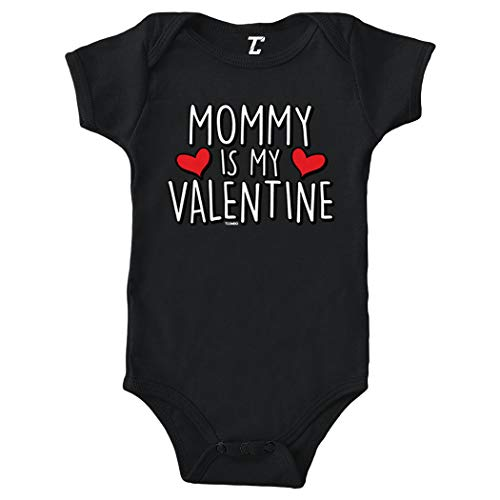 Tcombo Mommy is My Valentine - Cute Cupid Bodysuit (Black, 6 Months)