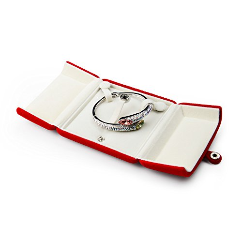 Oirlv Red Velvet Caja de Embalaje de joyería Doble Abierta Anillo Pendiente Colgante Collar Pulsera Almacenamiento Caja de Regalo Caja de Regalo de joyería (Caja de Pulsera/Caja de Brazalete)