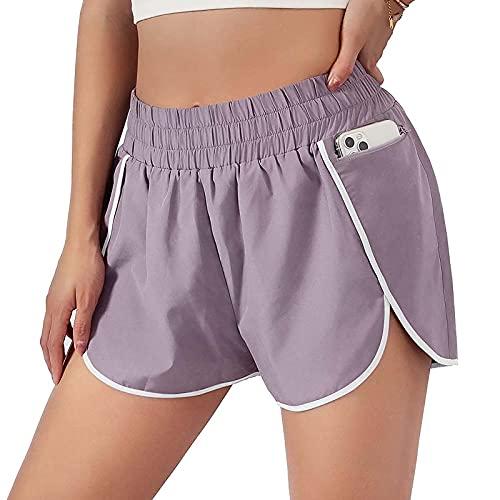 FMYONF Pantalones cortos de algodón para mujer, pantalones de pijama, yoga, deportes, correr, fitness, informales, elásticos, con bolsillos y cordón, Rosa., M