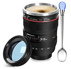 Fashion Chic: A camera lens stainless steel vacuum thermos cup, a good companion on business trips . Imagine that how cool can it be if you have a camera cup for coffee.No matter what kind of event you will take part in,this frozen travel mug will be...
