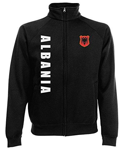 AkyTEX Albanien Shqiperia EM-2020 Sweatjacke Wunschname Nummer Schwarz M