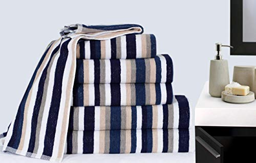Modernage Toalla de baño victoriana Royal a rayas, toalla de baño (juego de 4 balas de algodón) (azul)