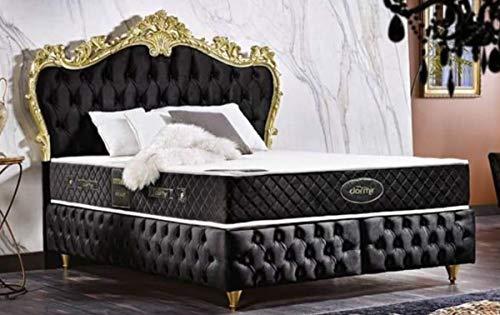 Casa Padrino Barock Doppelbett Schwarz/Gold - Prunkvolles Samt Bett mit Matratze - Komplett Set - Barock Schlafzimmer Möbel