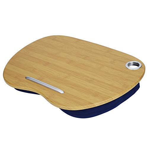 Memory Foam Lap Laptop Desk - Portable Lap Tray with Pillow Cushion for Food Book Laptop Tablet Stand, Fits up to 15.6 inch, with Anti-Slip Strip for Home Office Students Working(Blue)