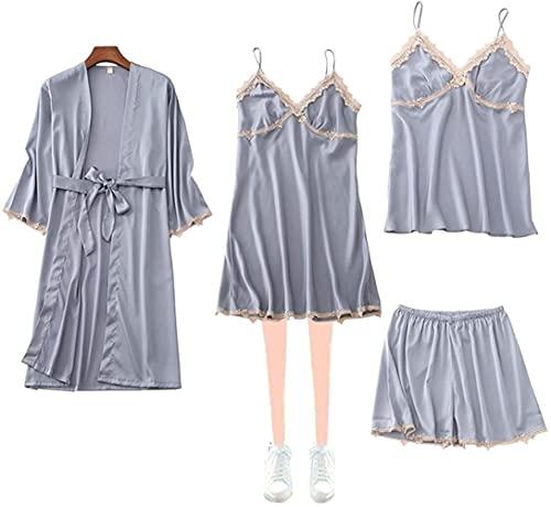 Pijama Conjuntos para mujer pijama de raso, seda del vestido de dormir Robe Set 4 piezas con pantalones con tirantes de encaje del camisón Traje de encaje (Color : Blue, Size : L)