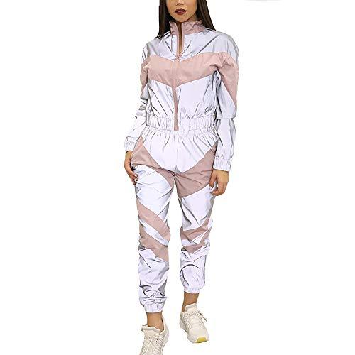 GEMSeven Conjunto De Chándales para Mujer Chaqueta Cortavientos con Cremallera Reflectante + Pantalones Brillantes