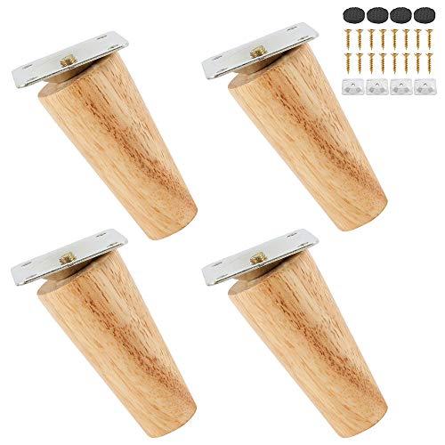 4 Stück Holz Tischbeine,Holz Sofafüße Möbelfüße,Holz Möbelfüße 8cm/15cm/20cm,mit Montageplatten & Schrauben für Sofa Bett Schrank Couch Stuhl (Schrägfuß 8cm)