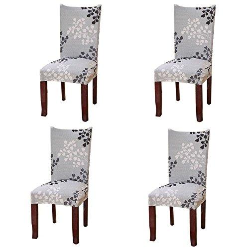 Fuloon Stuhlhussen 4er Set Universal Stretch Stuhlkissen Sessel überzug stuhlbezüge Protector Cover für Weihnachten Haus Esszimmer Moderne Hochzeit Bouquet, Hotel, Restaurant Dekor (4 Stück)