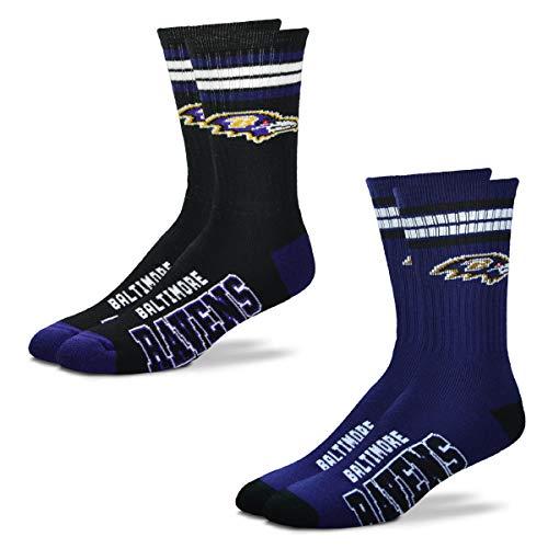 FBF Originals - NFL 4 Stripe Deuce Crew Socks Home & Away - 2 Pack (Baltimore Ravens, Medium 5-10)