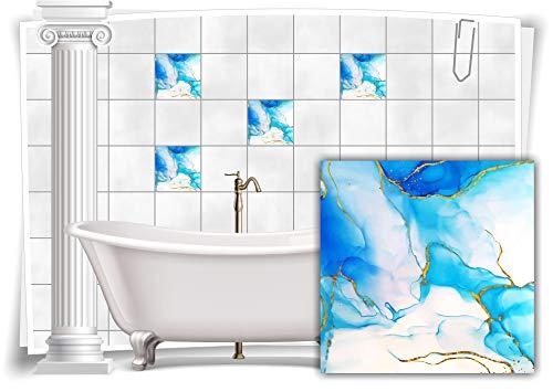 Medianlux Adhesivo decorativo para azulejos, diseño de mármol, óleo, pintura abstracta para baño o cocina, 6 unidades, 15 x 15 cm, m23m13q-136938