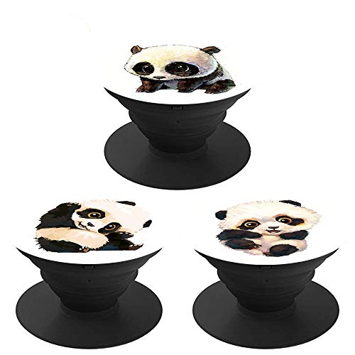 (3 Pack) Collapsible Phone Bracket 360° Cell Phone Holder for Phones and Tablets - Cute Kawaii Panda Bear