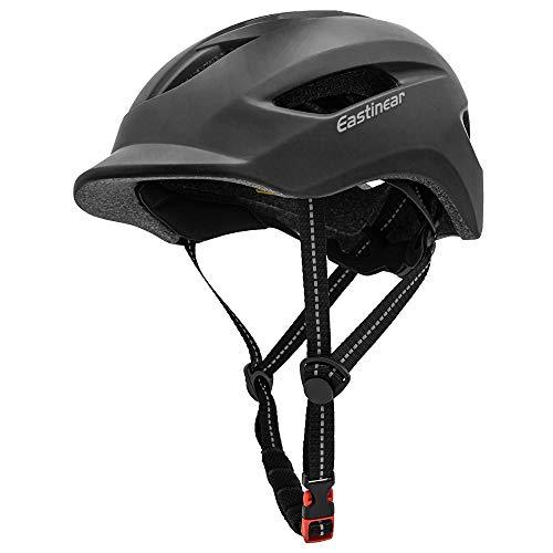 EASTINEAR Casco Bicicleta Adulto para Hombre Mujere con Luz Trasera LED Casco Ciclismo para Viajeros Urbanos con Visera Tamaño Ajustable 57-61 CM (Negro)