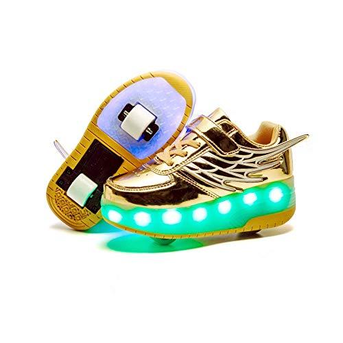 JESU Unisex Kinder LED Skateboard Schuhe, Aufladbare USB Rollschuhe, Blinken Skateboardschuhe Leuchtend Rollenschuhe Outdoorschuhe Gymnastik Mode Turnschuhe,Gold,31