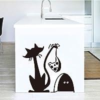ブラックウォールステッカーアートステッカーファニートラップビニールウォールステッカー壁紙キッズ冷蔵庫壁画ウォールステッカーアーティストレジデンスデコレーション55x59cm