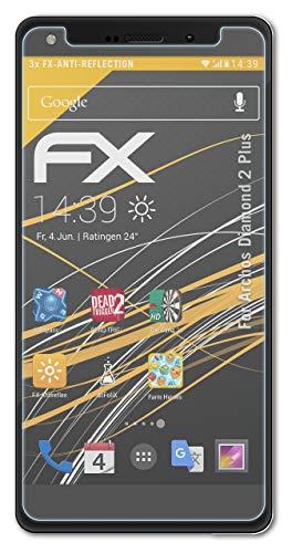 atFolix Panzerfolie kompatibel mit Archos Diamond 2 Plus Schutzfolie, entspiegelnde & stoßdämpfende FX Folie (3X)