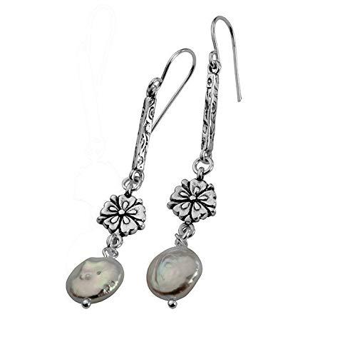 SHABLOOL Pendientes de plata de ley 925 con perla blanca piedras preciosas nuevos perlas de agua dulce blanco gotas de plata esterlina Didae joyería hecha a mano mujer hermosa fina detalle cumpleaños