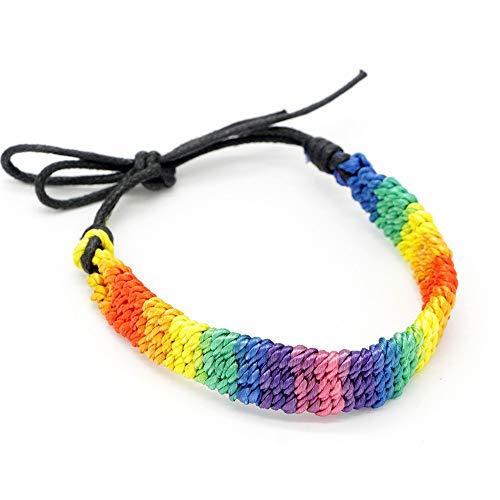 Nobrand Nuevo Simple Power Gay Pride Rainbow Unisex Pulsera Joyas Lesbianas Bisexuales Nudo Hecho A Mano Cadena De Cuerda Trans para Hombres Mujeres Ajustable