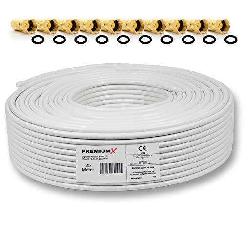 25m 135dB Sat Koaxialkabel Koax Kabel Reines Kupfer Digital PremiumX Profi FullHD UltraHD 4K 4-Fach geschirmt für DVB-S / S2 DVB-C DVB-T und BK Anlagen + 10 F-Stecker mit Gummiring (0,50€/M)