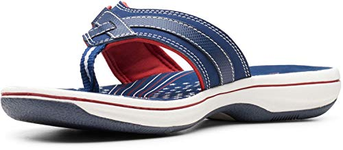 Clarks Women's, Breeze Sea Sandal RED White Blue 11 M