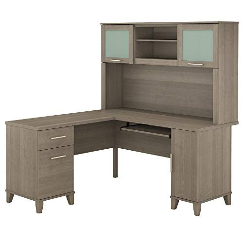Bush Furniture Somerset L Shaped Desk with Hutch, 60W, Ash Gray