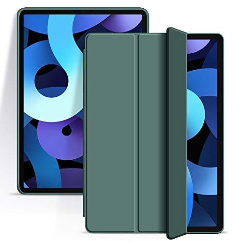 Aoub - Carcasa compatible con iPad Air 4 10.9 Zoll 2020, funda de protección con función atril para iPad de 10,9', despertador/sueño automático, capa protectora antiarañazos, color verde oscuro