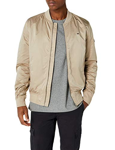 Tommy Jeans Herren Essential Straight Bomber Langarm  Jacke Beige (Plaza Taupe 006) X-Large