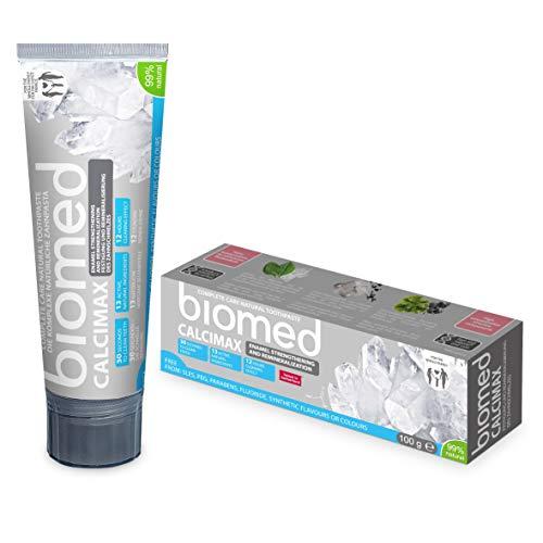 BIOMED Calcimax tandpasta zonder fluoride, om het tandglazuur te versterken met 99% natuurlijke ingrediënten