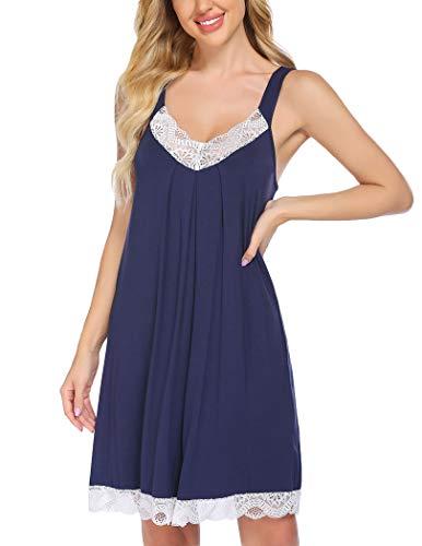 ADOME Camisón de mujer cómodo camisón de encaje ropa de dormir sin mangas lencería de algodón camisón camisón vestido de pijama S-XXL, Azul marino, M