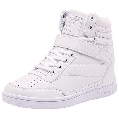 Wealsex Zapatillas de Cuña para Mujer Botas Botines Alta Zapatos Deportivos Oculto Talón Altura 3.5cm Interior Sneakers Blanco 38