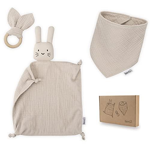 Räuberella Schmusetuch, Beißring und Lätzchen Baby Geschenk zur Geburt Junge & Mädchen Beige