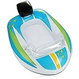 com-four® Schwimmfigur im Motorboot Design - Gummiboot aufblasbar für Kinder - Luftmatratze für Badespass - Badefigur für Strand und Pool (weiß-blaues Boot)
