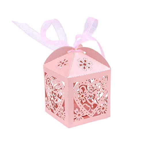 STOBOK Cajas de Caramelos de Papel Hueca con Patron de Corazon para Bombones Dulce Chocolate Cajas de Regalo para Fiesta Boda Decoraciones del Regalo de Cumpleaños Bautizo 50 Piezas (Rosa)