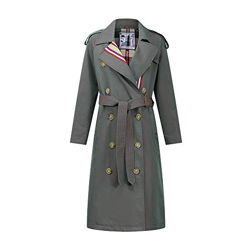 LiSh-EC Klassische schlanke Modejacke Trenchcoat winddichter Mantel Farbstreifen zweireihig 2020 Neue europäische und amerikanische Frauen britische schlanke Taille Windjacke-Olivgrün_S