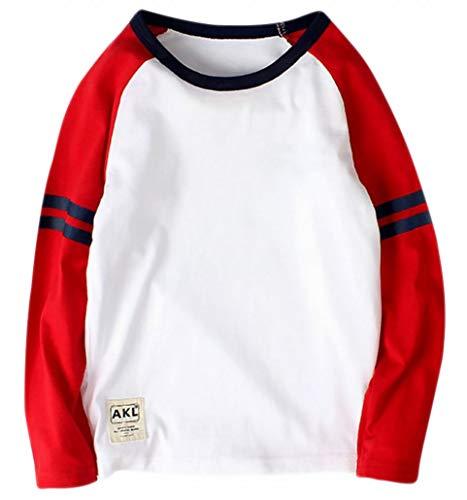 Plus Nao(プラスナオ) Tシャツ カットソー 長袖 ラウンドネック ラグラン袖 子供用 キッズ トップス 丸首 丸襟 カジュアル ライン入り シン ホワイト 160cm