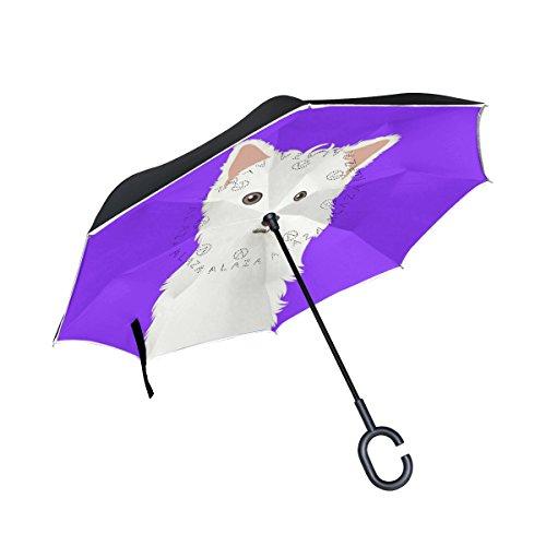 alaza Double-Layer-Inverted Regenschirm Autos Reverse-Regenschirm West Highland Weiß Terrier Hund Winddichtes UVbeweis Reise im Freien Regenschirm