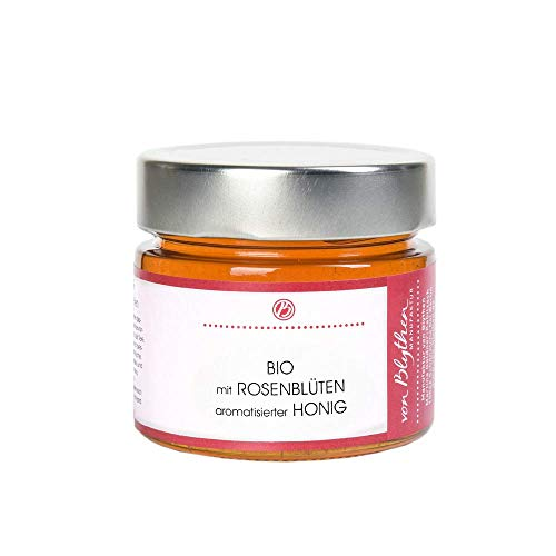 BIO Rosenblüten Honig, flüssig, mild – feiner Blütenhonig aromatisiert mit echten Rosenblüten
