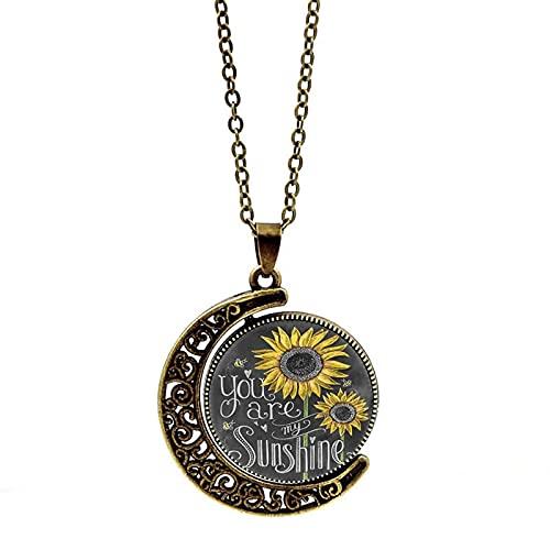 Collar De Girasol Sunshine, Doble Cara Redonda, Eres Mi Colgante, Collar, Joyería De Media Luna, Joyería De Decoración De Regalo