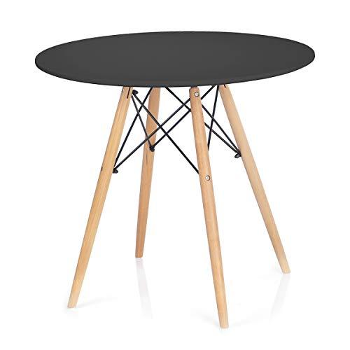 Homede Esszimmertisch Ø 80 cm MDF Platte Holz rund schwarz Tebe