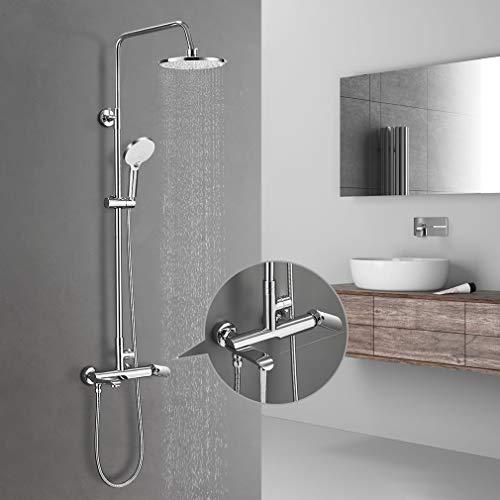 BONADE Regendusche Duschsystem mit Armatur Edelstahl Duschset inkl. Duschbrause, Verstellbare Duschstange, Handbrause mit 3 Strahlarten, Duschsäule für Badzimmer