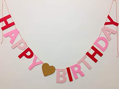 Sweet heart Girl's Happy Birthday Banner No DIY required
