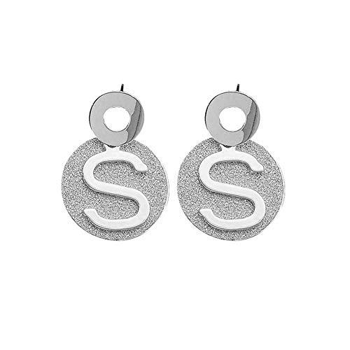 Family Needs Silver Needle letter oorbellen Matt Sticker Kinderlijke Ear hanger Fashion Wild Metal Oor Ornamenten (Color : S-Silver)