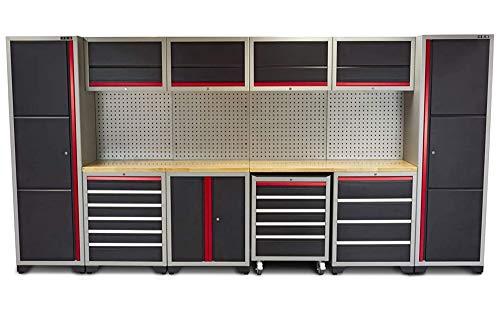 Profi Werkstatteinrichtung Set mit Schubladen 405 x 51 x 204 cm, Schränke bereits montiert, Werkbank, Werkzeugschrank, Werkzeugwagen (Werkstatteinrichtung Set 2)