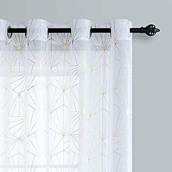 White and Gold Printed Sheer Sparkle Curtains Geometric Stripe Pattern Grommet Top Window Curtains 84 inch Length for Girls Bedroom 2 Panels Diamond Golden Stamping Kids Room Drapes for Backdrop 52x84