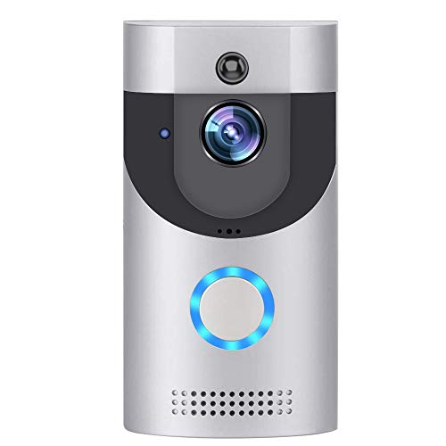 WLAN Video Türklingel Kamera, OOCOME Kabellose Türklingel Kamera, Sicherheitskamera mit Cloud-Speicher, Echtzeit-Video, Zwei-Wege-Talk, PIR-Bewegungserkennung, Nachtsicht (Silber)