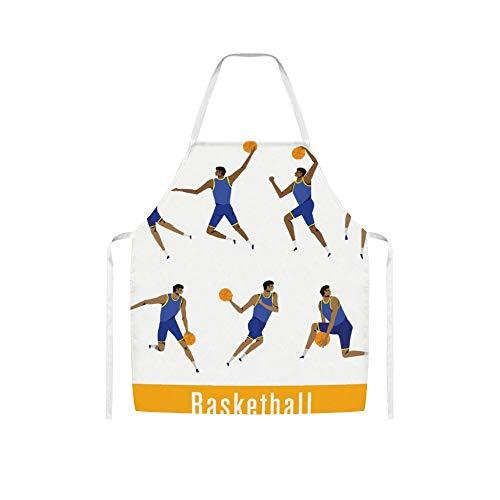 Doinh Mannelijke Basketbalspeler in Actionwollen doek schort voor mannen en vrouwen in koken, barbecueën en bakken