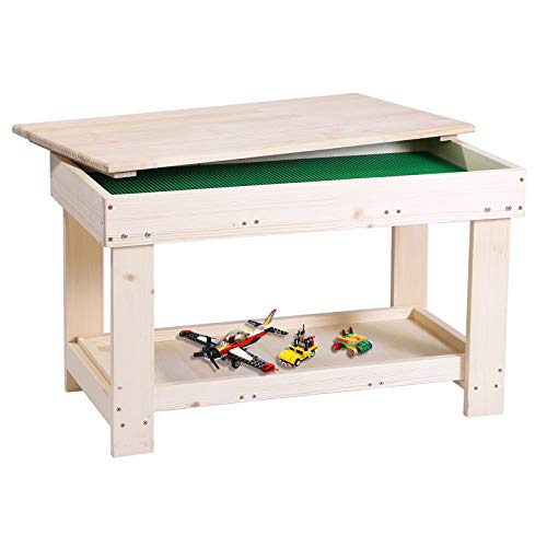 YouHi Kids Activity Table with Board for Bricks Activity Play Table (Wood Color)