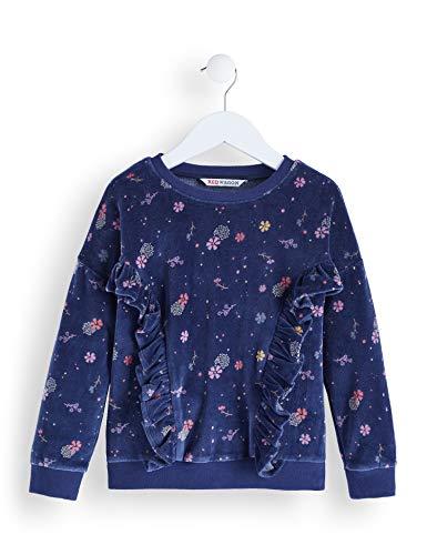 Amazon-Marke: RED WAGON Mädchen Kleid Printed Velvet Sweat, Blau (Navy), 140, Label:10 Years