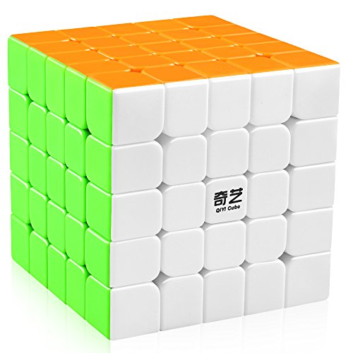 D-FantiX Qiyi 5x5 Speed Cube Stickerless 5x5x5 Magic Cube Puzzles Toys 62mm (Qizheng S Version)