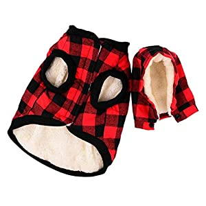 LEMONPET Dog Jacket Winter Warm Dog Coat with Removable Hoodie Soft Cozy Apparel Clothing for Small Medium Large Dogs, S M L XL XXL XXXL (L(Chest:22.8″, Neck:13.77″, Back:15.7″), Red)